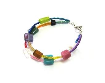 925 Sterling Silver Two-Strand Funky Colorful Rectangular, Cube and Square Glass Small Wrist or Child-size Beaded Bracelet