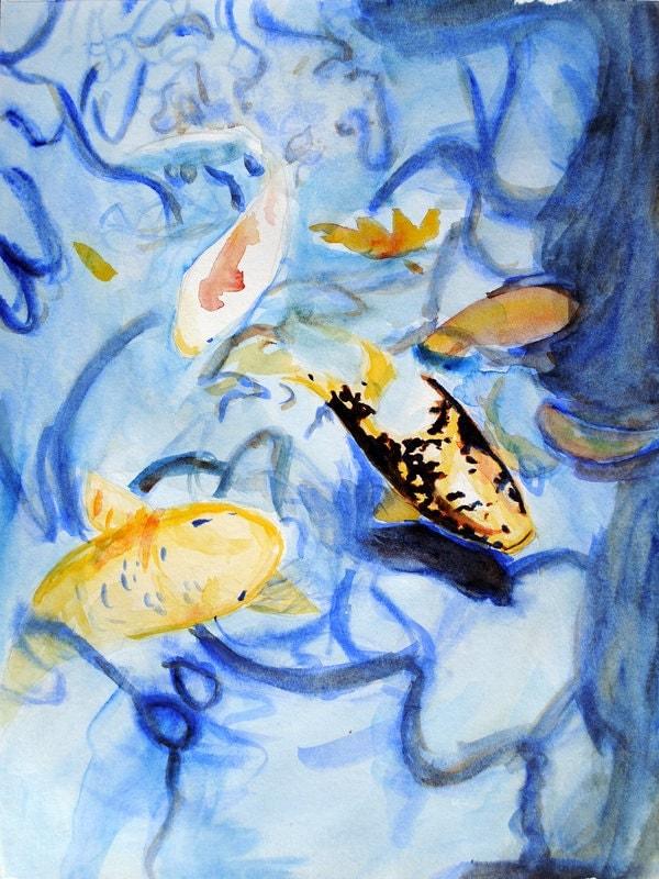 Japanese Koi Pond Fish Watercolor Painting By Brandimillerart