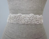 Beaded Rhinestone Pearl Ocean Wedding Sash / Belt, Starfish in the Waves