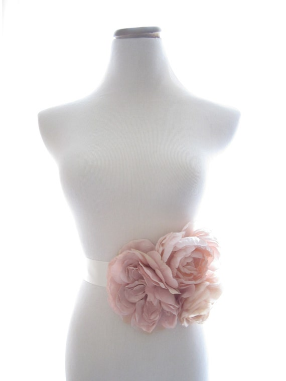 Grand Garden Sash, Bridal Sash, Bridal Belt, Blush Pink