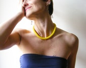 Yellow Necklace/Rope Necklace/Yellow choker/Neon Accessories/Nautical Jewelry/Crocheted Necklace/Tubular necklace
