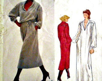 Misses Shawl Collar Dress and Evening Dress and Belt Vintage Vogue American Designer 2056 Jerry Silverman UNCUT FACTORY FOLDED Size 10