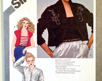 Misses Unlined Bolero Jacket and Camisole or Teddy Sewing Pattern Simplicity 9810 Size 10 Bust 32