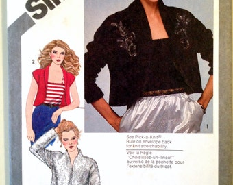 Misses Long or Short Sleeve Shawl Collar Bolero and Cami Top Sewing Pattern Simplicity 9810 Size 10