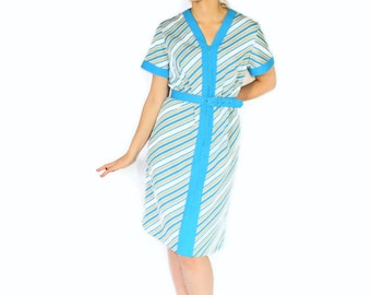60s Striped Dress. Vintage Blue Grey Zip Up Dress. Shift Dress. Day Dress. Mad Men Fashion. Turquoise Light Brown Dress. Summer Dress