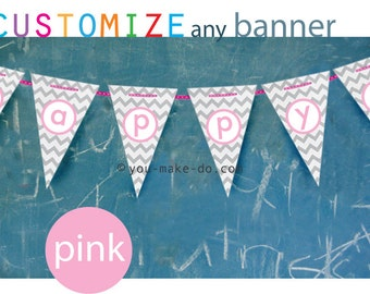 INSTANT DOWNLOAD pink baby shower, custom party printables, baby shower banner, birthday banner, birthday, party printable, pink party, pdf