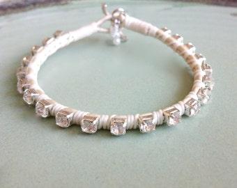 Friendship Bracelet, White Bracelet, Womens Bracelet, Womens Jewelry, Bling Bracelet, Leather Bracelet, Modern Style, Wedding Jewelry