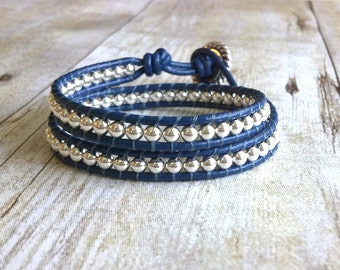 Nautical Bracelet, Royal Blue Bracelet, Sterling Silver Bracelet, Leather Wrap Bracelet, Double Wrap, Womens Jewelry, Layered Bracelet