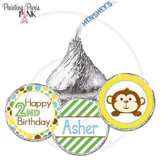 Printable Hershey Kiss Labels - Monkey Party Collection