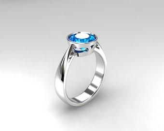 Blue topaz ring, engagement ring, white gold, gold engagement, topaz ring, blue engagement, bezel, solitaire