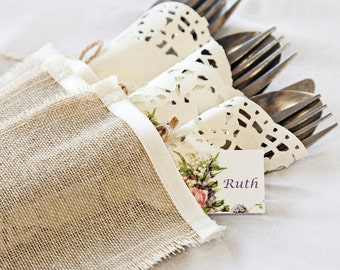 Rustic cutlery holders, linen with ivory satin trim, silverware sleeves - set of 6