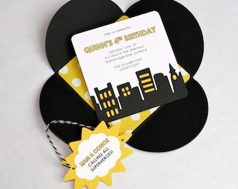 Superhero Birthday Invitation - Petal Enclosure, Black and White Twine, Yellow and White Dot Liner, Multi-Layered Invitation