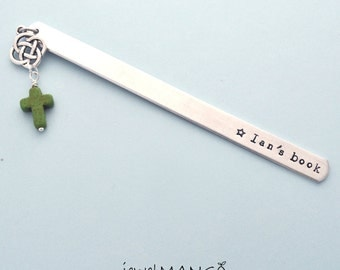 Personalized Bookmark Custom Bookmark Keepsake gift hand stamped gifts, custom gifts, handmade, cross