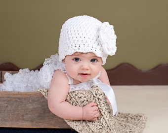 Baby Girl Hat 0 to 3 Month White Baby Hat Flapper Beanie Silver Baby Hat Crochet Flower Hat Photo Prop Baby Girl Clothes Baby Shower Gift