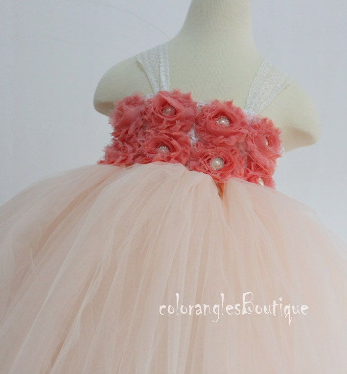 Blush peach Coral tutu dress Flower Girl Dress baby dress