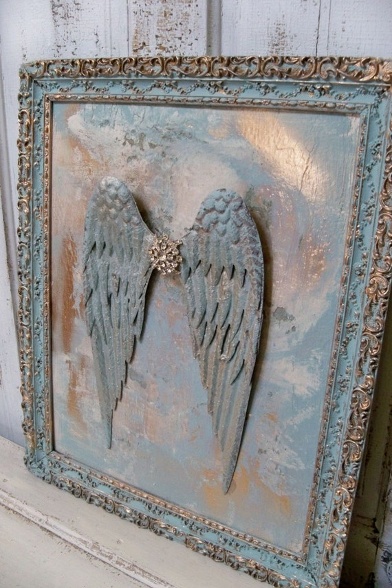 Framed Art 3d Metal Wings Blues And Golds Surrounded By Tones
