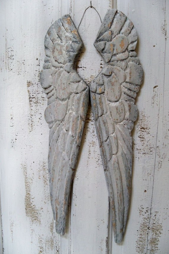 Wooden angel wings wall sculpture white gray distressed carved for Angel wings wall decoration uk