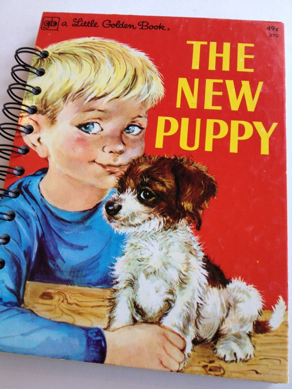 1977 Vintage The New Puppy Little Golden Book Recycled Journal Notebook