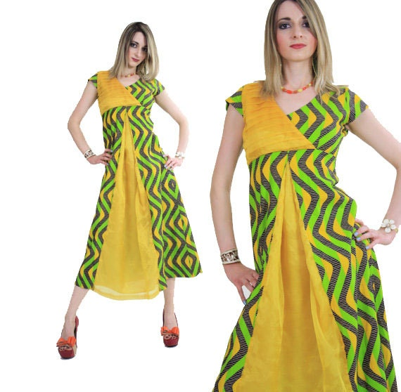 Vintage 60s mod maxi dress party hippie gypsy boho neon abstract graphic print   SH110