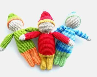 Crocheted organic doll Waldorf doll Elf doll Amigurumi gnome doll Eco friendly gnome Crochet Rattle Christmas gnome