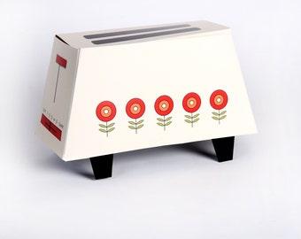 60's TOASTER - Retro Vintage Gift Box - 70s Toaster, Printable DIY Wedding Gift Box - Cream - red yellow flowers