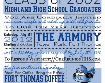 High School/ College Class Reunion  Blue White, Any Color Customizable  5.25  Class Reunion Invitations Templates