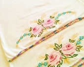 Vintage Shabby Chic Handstitched Rose Pillowcases, Set of Two, Romantic Home, Olives and Doves