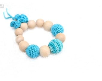 Aqua blue and turquoise Baby Teether Teething toy with crochet wooden beads