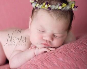 Newborn Halo, Newborn Photo Prop, Floral Crown, Newborn Crown, Woodland, Spring, Spring Halo - Purple, Pink, Yellow