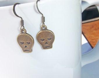 Skull Earrings, Antiqued Brass Skull Earrings, Cute Little Skull Earrings, Heart Skull Earrings, Skull Dangle Earrings, Girly Skull Earrings