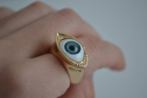 Blue Evil Eye unisex vintage gold ring size 7 Punk Gothic
