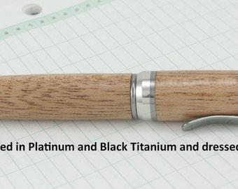 Ballpoint Pen Handmade Cigar Platinum Titanium, Mahogany