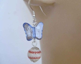 Baseballs and Butterflies Dangly Earrings RED, WHITE & BLUE, Free Shipping