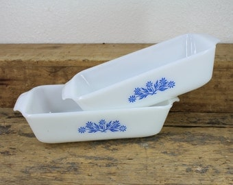 Two Vintage Fire King Quart Baking Dishes / Anchor Hocking with Blue Cornflower Design
