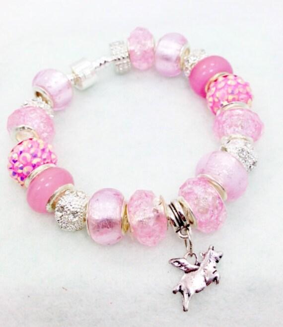 flying pig european style charm bracelet