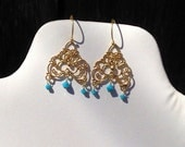 Golden Arabesque - Chandelier earrings - bright turquoise blue Swarovski crystals on gold vermeil chandelier wires - Handmade OOAK
