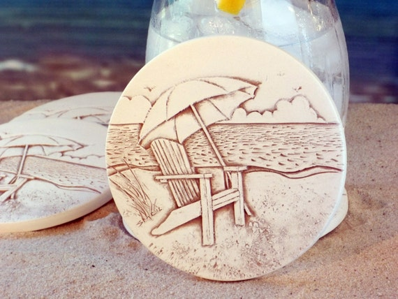 Beach chair absorbent clay drink coasters set of by shaynemccarter - Drink coasters absorbent ...