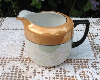 Noritake Lustreware Creamer  1930s Art Deco  Rare Gold & White with Black Trim  Japan 3 inches tall  Excellent Condition!