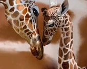 Title: Giraffe kisses in camo  signed by artist print 13x19