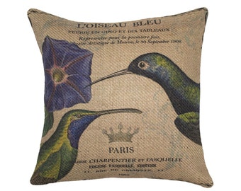 Burlap Pillow Cover, French Hummingbirds, Paris, Crown, Green, Blue, Flower