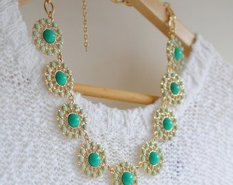Green and Mint Bean Circular Bubble Acrylic Collar Necklace / Anthropologie Necklace / Chunky Statement / Bib Statement / Jcrew Necklace