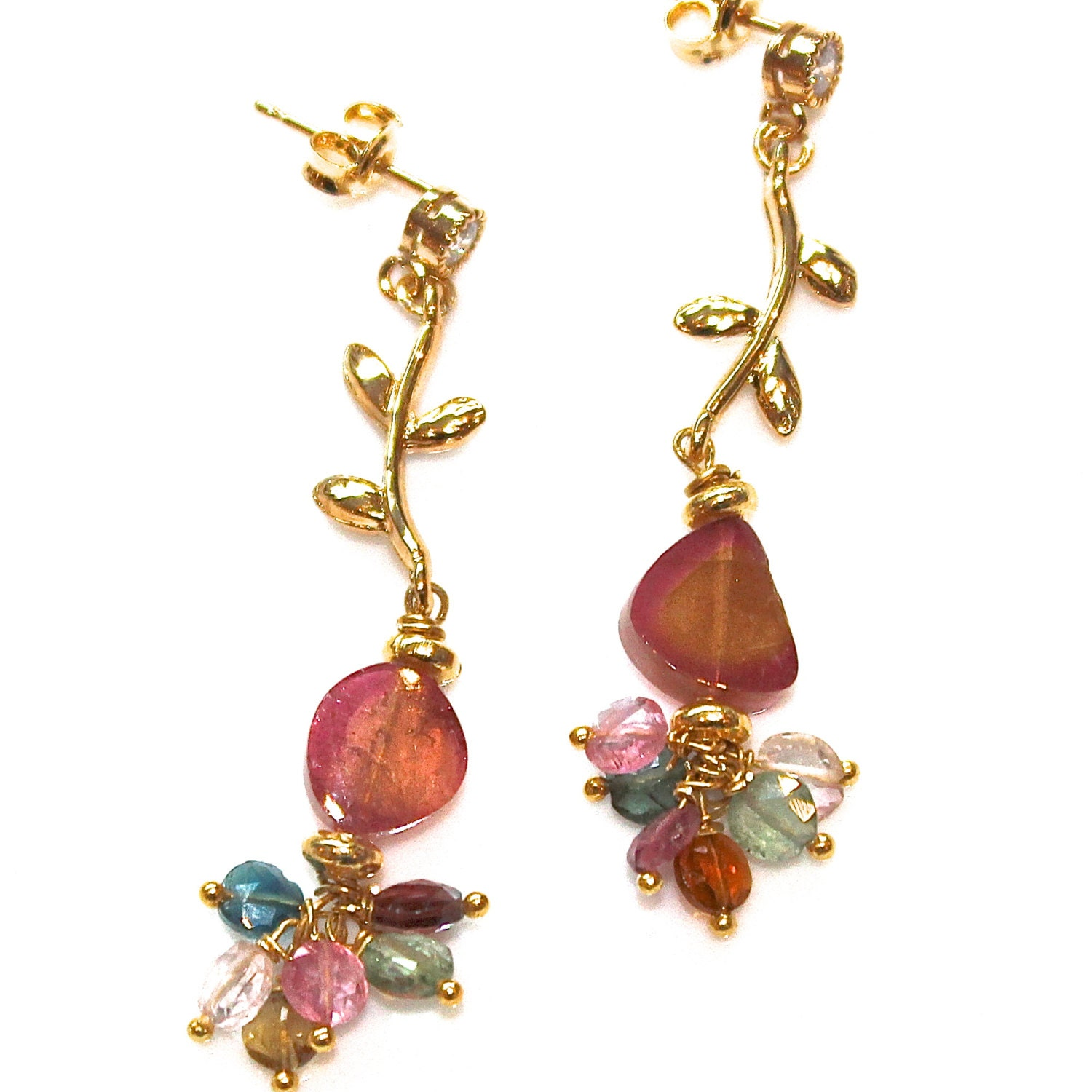watermelon tourmaline slice earrings pink yellow tourmaline