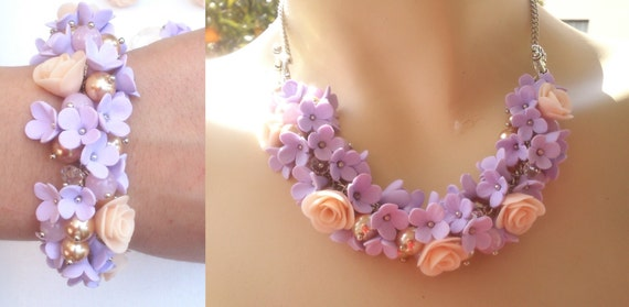 Necklace turns into a bracelet - Lilac peach jewelry set - Polymer necklace/bracelet, earrings, ring