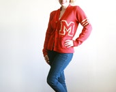 SPRING SALE // Vintage Red Varsity Football Letter Sweater M - Women's Small