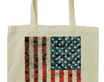 Vintage button design American flag cotton tote bag with long handles