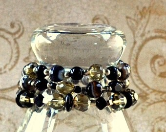 Taupe Black Stretch Bracelet Set of 3 Stacking Beaded Agate Natural Stone Glass Elastic Chunky Faceted Fashion Jewelry Bangles Free Shipping