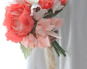 Paper peony, paper flowers, 2014 trends, eco freindly, paper bouquet, Coral paper flowers