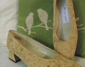 8 / 8.5 Unusual Cork Heels by Etienne Aigner - Made in Spain Perfect Summer / Spring shoes