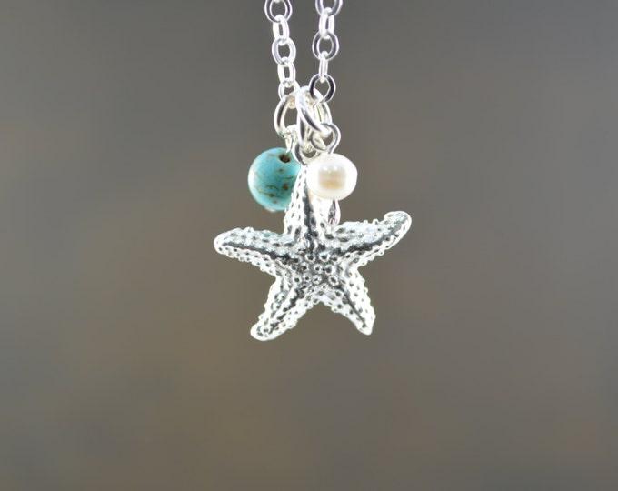 Starfish Necklace, Beach Wedding, Bridesmaid Gift, Starfish Jewelry, Turquoise + Starfish Necklace, Sterling Silver Jewelry, June birthstone