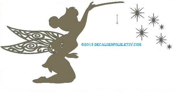 Tinkerbell decal disney decals vinyl wall decal disney - Pochoir mural fee ...